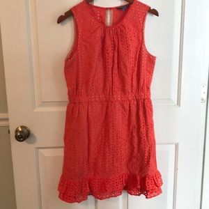 🌺 Peter Som Orange Eyelet Dress: Fully Lined!!